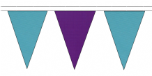 SKY BLUE AND PURPLE TRIANGULAR BUNTING - 10m / 20m / 50m LENGTHS